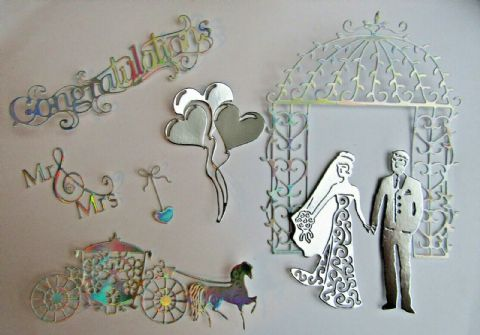 STUNNING WEDDING CARD DIE CUT TOPPER SET BRIDE & GROOM CARRIAGE ARCHWAY & MORE